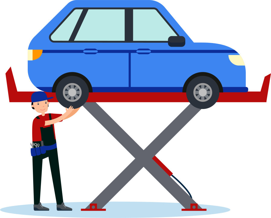 Graphic of a mechanic fixing a car up on a ramp.